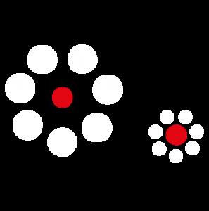 Optische Illusion: die beiden roten Kreise sind gleich groß