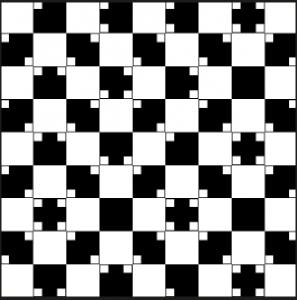 Optische Illusion: die Quadrate sind nicht gekrümmt