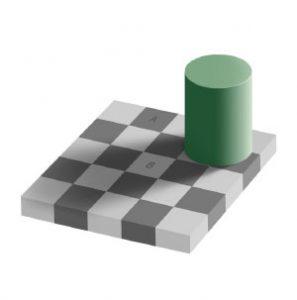 Optische Illusion: Die grauen Farbflächen A und B sind gleich hell.