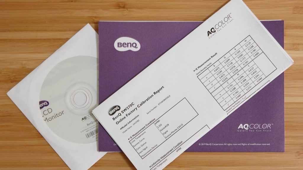 Every BenQ monitor comes with its own calibration report, to ensure high quality color accuracy.